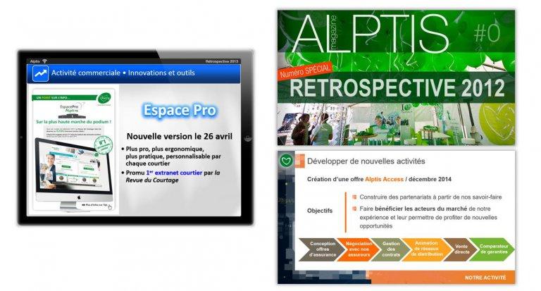 DE BOUCHE A OREILLE • Création originale d'interfaces et production de supports de présentation pour les réunions des collaborateurs ALPTIS.