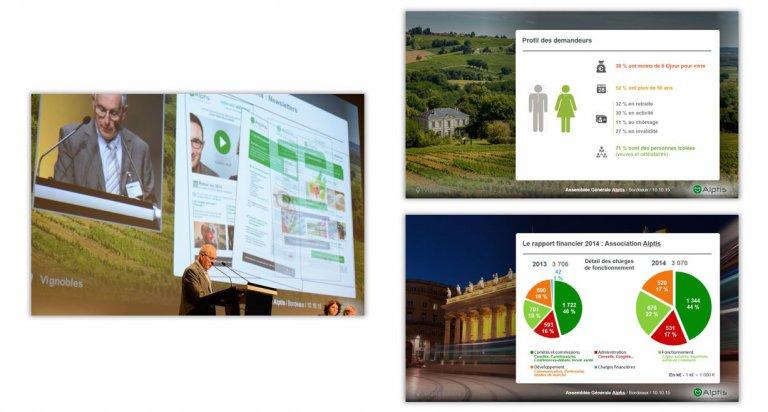 DE BOUCHE A OREILLE • Production de supports de présentation pour des Assemblées Générales & Congrès ALPTIS.