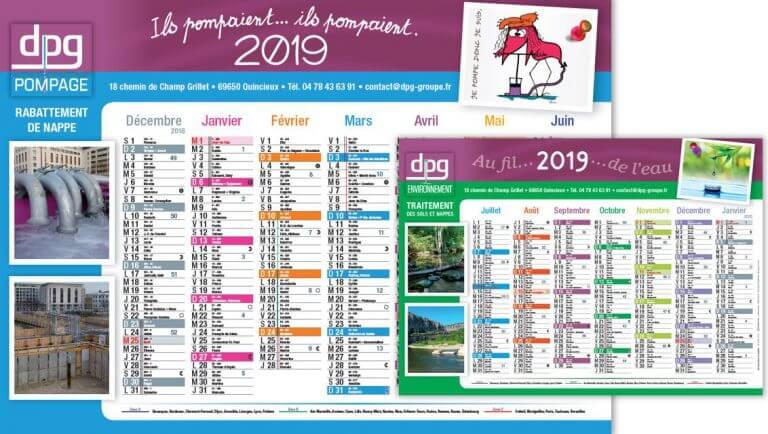 DE BOUCHE A OREILLE • Création originale des calendriers 2019 pour DPG POMPAGE & ENVIRONNEMENT.
