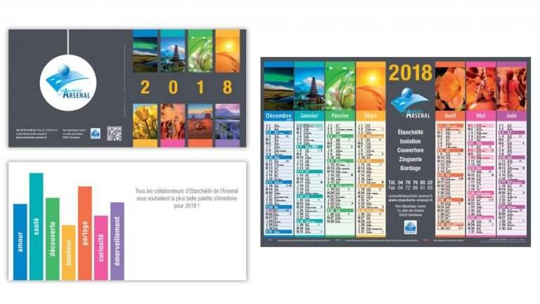 DE BOUCHE A OREILLE • Création originale de la carte de voeux & calendriers 2018 pour ETANCHEITE DE L'ARSENAL.