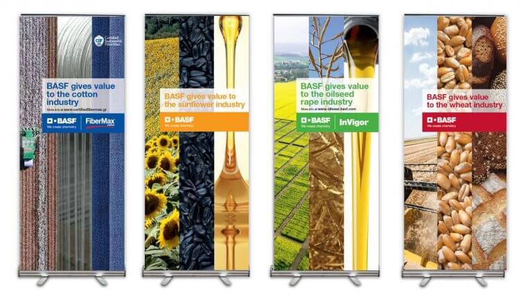 DE BOUCHE A OREILLE • Création originale de visuels, recherches iconographiques et fabrication de roll-up pour animer une réunion BASF.