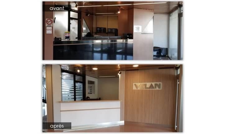 DE BOUCHE A OREILLE • Agencement du hall d'accueil du siège France de VELAN.