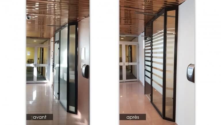 DE BOUCHE A OREILLE • Rénovation du hall d'accueil de VELAN - Peinture des murs et cloisons - Changement des vitrages et vitrophanie décor.