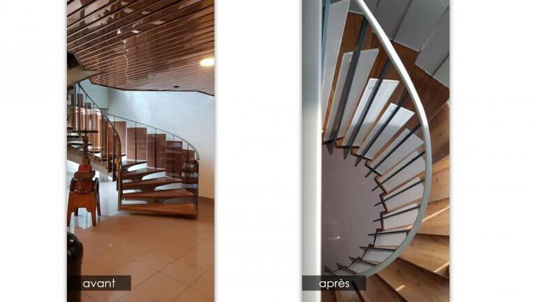 DE BOUCHE A OREILLE • • Rénovation du hall d'accueil de VELAN - Rénovation de l'escalier (peinture, vitrification) - Changement des plexis et de la main courante.