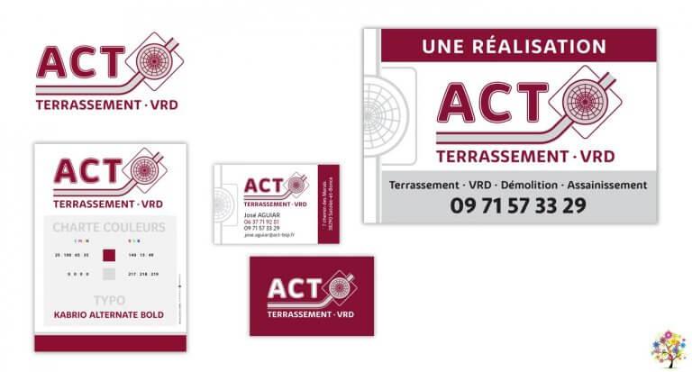 DE BOUCHE A OREILLE • Création originale de l'identité visuelle, déclinaison de la papeterie & panneau de chantier pour ACT TERRASSEMENT VRD.