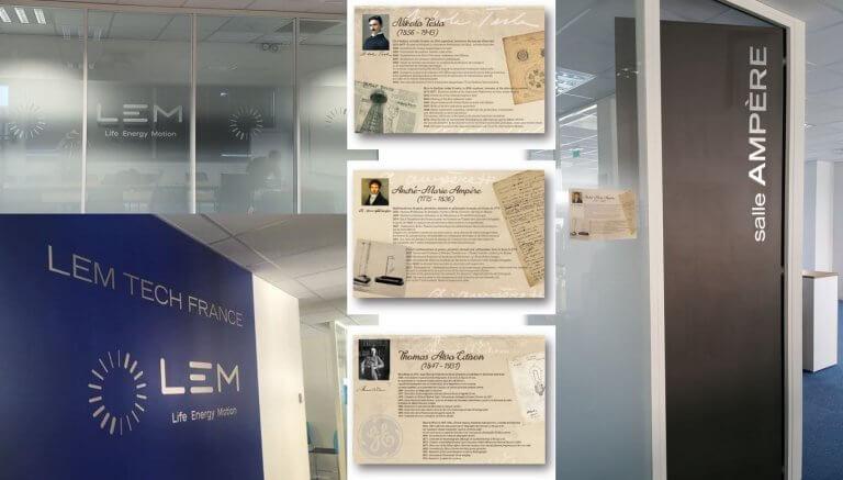DE BOUCHE A OREILLE - Décoration des bureaux, vitrophanie décor & logos muraux en alu brossé pour LEM.