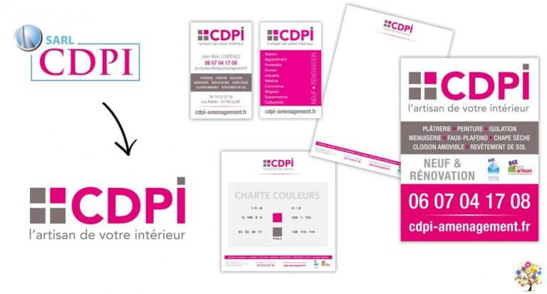DE BOUCHE A OREILLE • Refonte de l'identité visuelle, déclinaison de la papeterie & panneau de chantier pour CDPI.