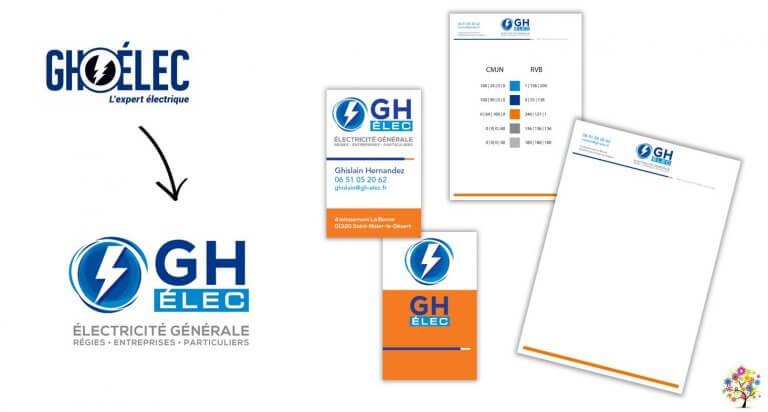 DE BOUCHE A OREILLE • Refonte de l'identité visuelle & déclinaison de la papeterie pour GH ELEC.