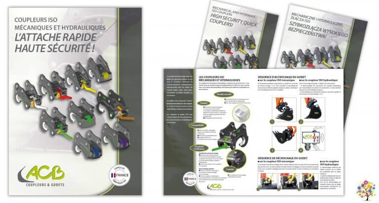 DE BOUCHE A OREILLE • Coupleurs ISO mécaniques et hydrauliques F - GB - PL • Création originale & fabrication de dépliants 2 volets pour ACB.