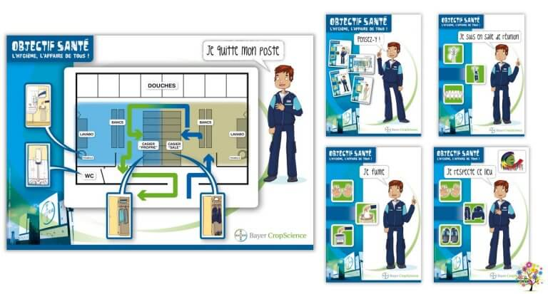 DE BOUCHE A OREILLE • Création originale de visuels & illustrations pour une campagne de sensibilisation à l'hygiène pour BAYER, site industriel de Villefranche-Limas.
