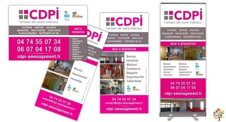 DE BOUCHE A OREILLE • Promotion de l'entreprise • Création originale de flyers, encart presse & roll-up pour CDPI.