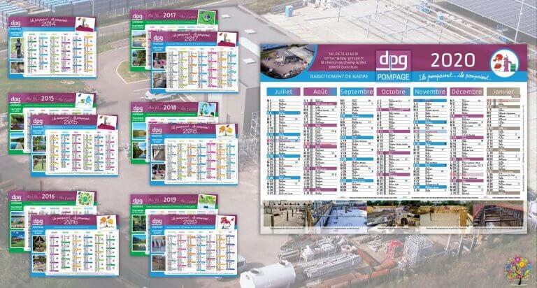 DE BOUCHE A OREILLE • Création originale & fabrication de calendriers feuillets pour DPG POMPAGE & DPG ENVIRONNEMENT.