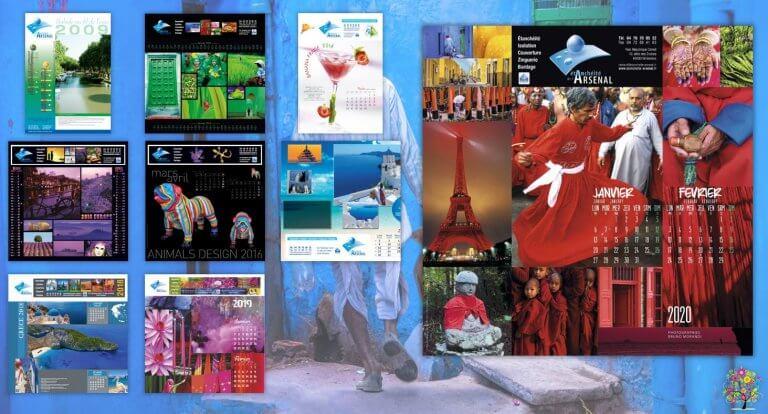 DE BOUCHE A OREILLE • Création originale & fabrication de calendriers muraux illustrés pour ETANCHEITE DE L'ARSENAL.