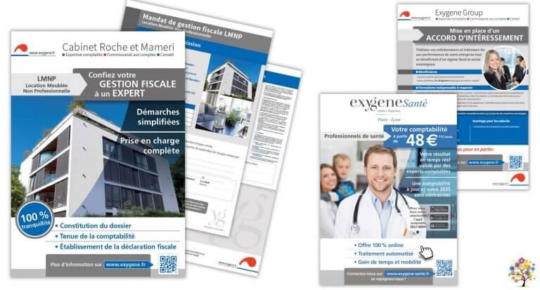 DE BOUCHE A OREILLE • Lancement de nouvelles offres • Création graphique originale d'une brochure digitale 8 pages & de flyers pour EXYGENE.