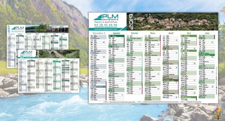 DE BOUCHE A OREILLE • Création originale & fabrication de calendriers feuillets pour PLM EQUIPEMENTS.