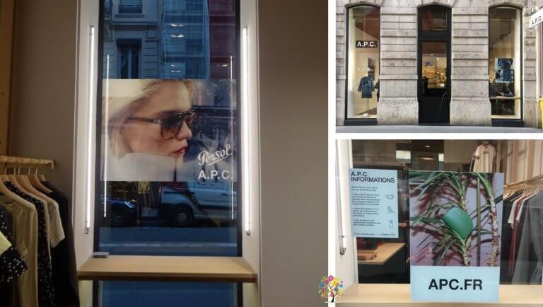 DE BOUCHE A OREILLE • Vitrophanie décor, boutique APC de Lyon.
