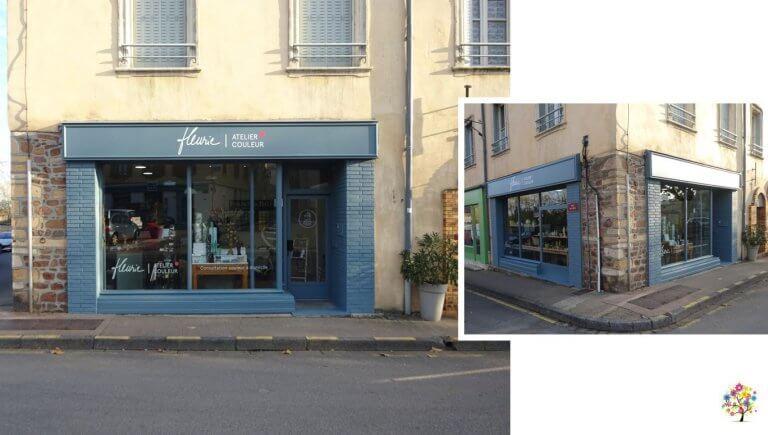 DE BOUCHE A OREILLE • Signalétique décor en vitrophanie d'une nouvelle boutique déco au coeur du Beaujolais, FLEURIE ATELIER COULEUR.