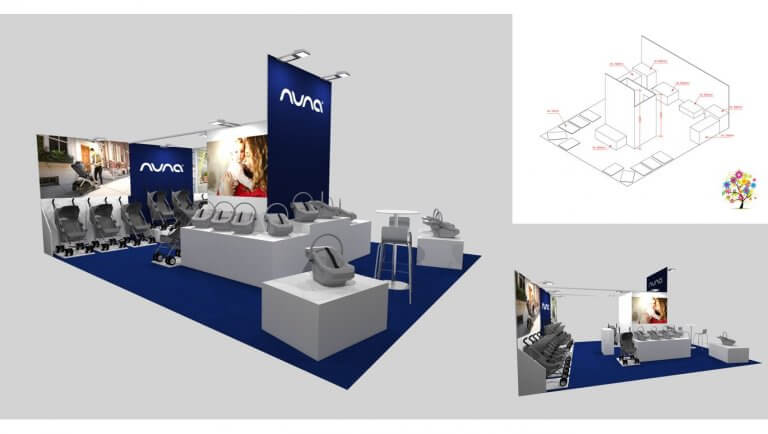 DE BOUCHE A OREILLE • Salon Baby Paris - Conception et aménagement du stand - Vues 3D pour NUNA Baby.