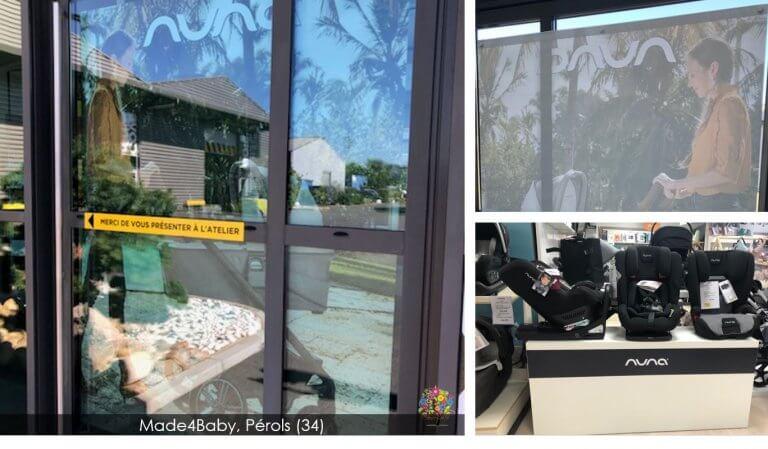 DE BOUCHE A OREILLE • Décoration de vitrine & fabrication de présentoir pour le corner Made4Baby, Pérols pour NUNA Baby.