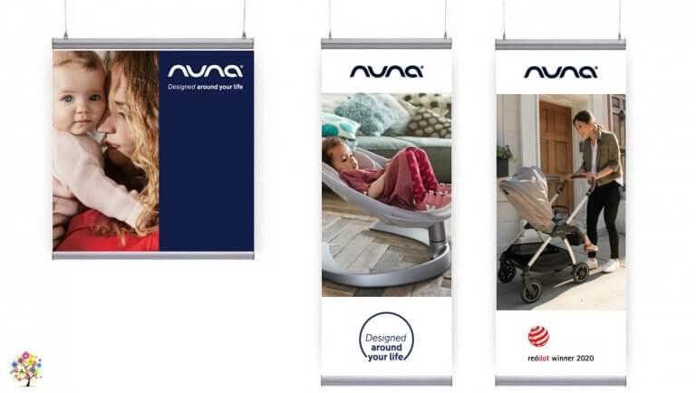DE BOUCHE A OREILLE • Décoration des vitrines Natal Market Paris 2ème, 15ème, 16ème ; fabrication de visuels & podiums pour NUNA Baby.